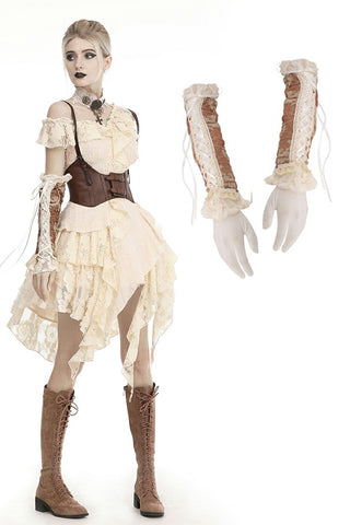 Steampunk lace up long gloves AGL010
