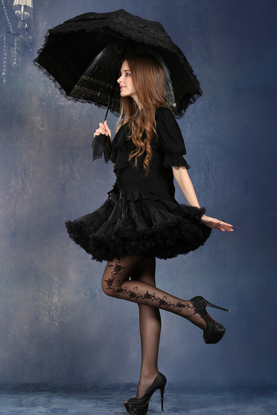 AUM003 Lolita lace waterproof telescopic umbrella parasol