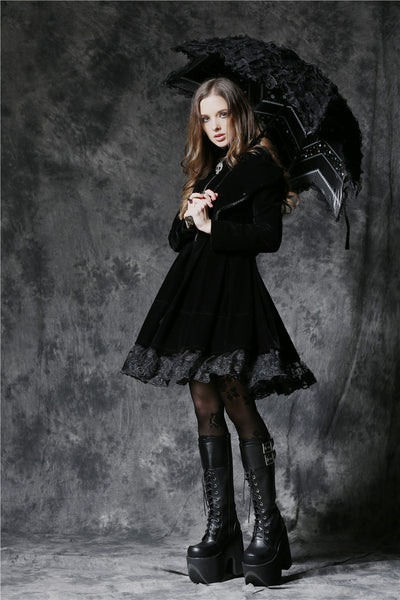 AUM004 Gothic lolita five angle shape waterproof telescopic umbrella parasol