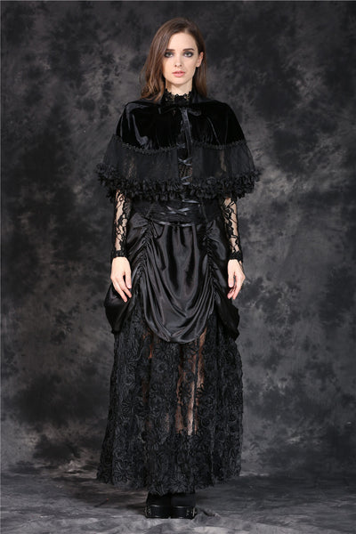 BW038 gothic lolita Korea velvet cape cloak with double layer lace