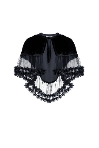 Gothic lolita Korea velvet Black cape cloak with double layer lace BW038 - Gothlolibeauty