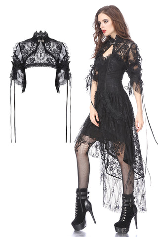Gothic lolita gorgeous lace cape with messy gauze short sleeves BW045 - Gothlolibeauty