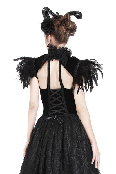 BW046 Gothic gorgeous feather velvet caplet with two ways to wear