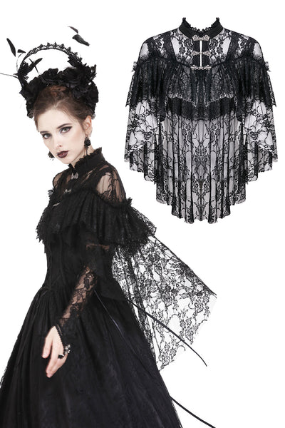 BW047 Gothic lace high-low caplet with sexy shoulder