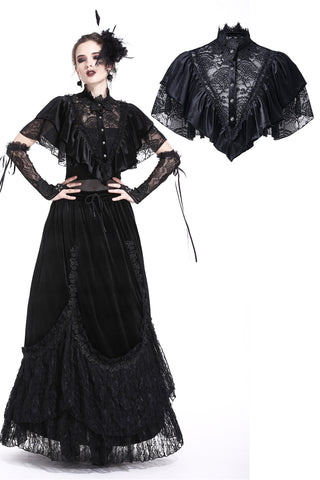 BW048 Sexy gothic lace hollow solf velvet capelet - Gothlolibeauty