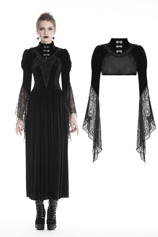 Gothic velvet Black cape with mesh big sleeves BW068 - Gothlolibeauty