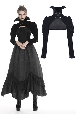 Gothic punk Black velvet cape with high collar BW071 - Gothlolibeauty