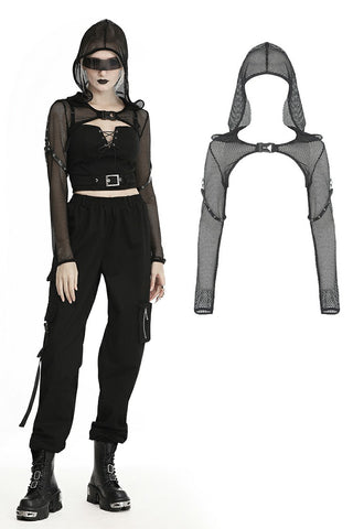 Fishnet hooded punk cape BW084