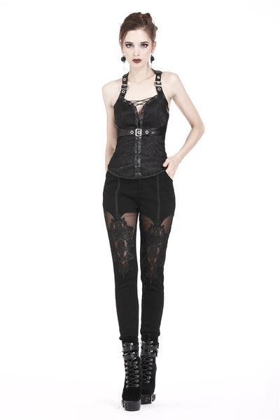 CW027 Gothic decorative pattern corset with rope on certral front design