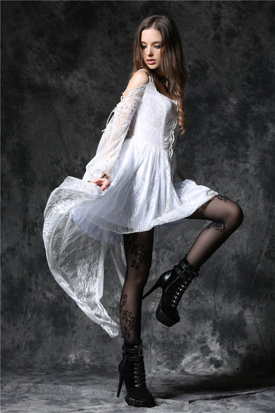 Custom made link of DW053WH Gothic ghost cocktail lace dress with button row