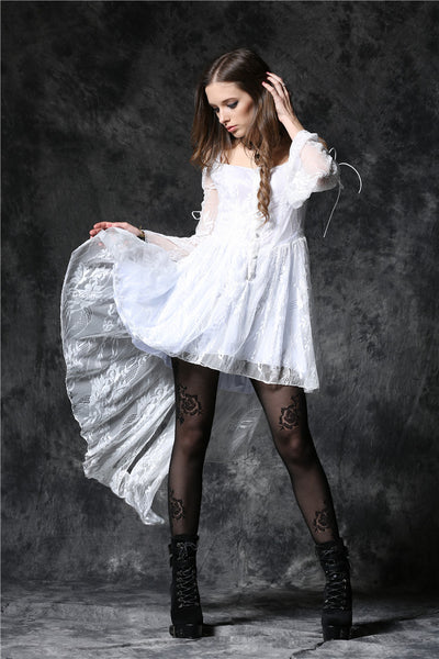 DW053WH Gothic ghost cocktail lace dress with button row