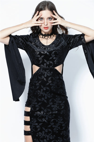 DW108 Gothic flocking long dress with triangle on waist