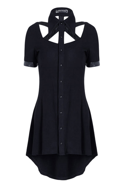 DW127 Punk hollow-out doll collar cocktail Tee dress