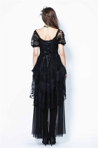DW129 Gothic lolita puff sleeves lace tail dress