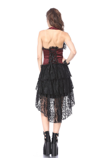 DW162RD Gothic corset dress with lace cocktail hem
