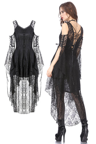 Black Gothic Elegant Lace High-Low Dress DW166 - Gothlolibeauty