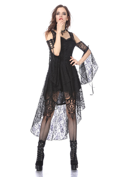 DW166 Black Gothic Elegant Lace High-Low Dress