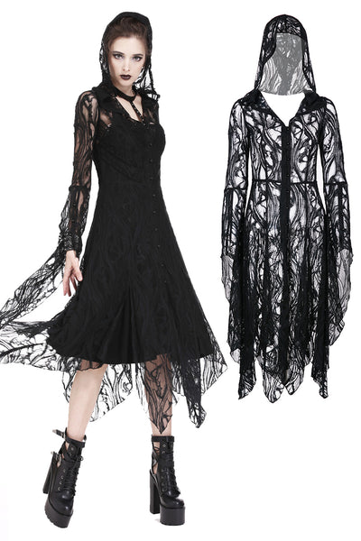 DW173 Gothic gorgeous lace long dress with horn cap and long row buttons