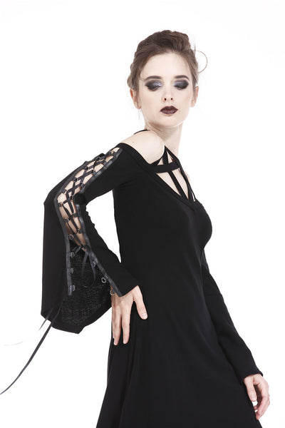 DW174 Punk elastic dress with variant star design and sexy rope sleeves