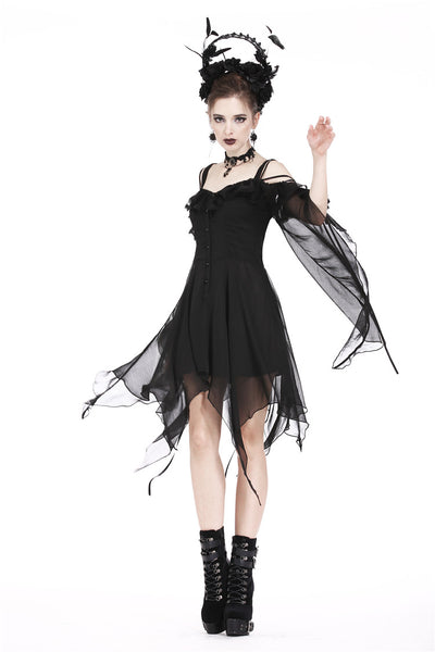 DW176 Gothic flowing chiffon dress with flounces and sexy silk ribbon ropes