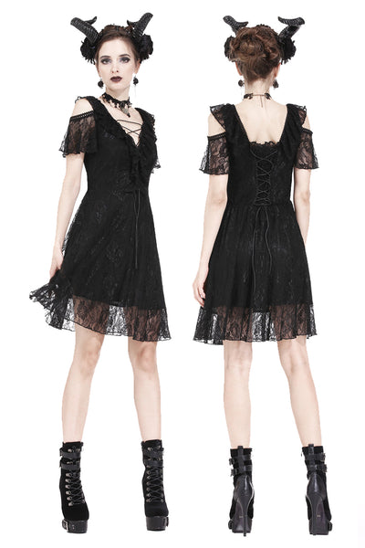 DW178 Gothic daily lace dress with off Shoulder