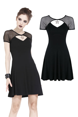 Punk star knitted dress with mesh shoulder and variant cross on back DW180 - Gothlolibeauty