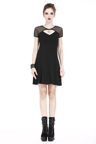 DW180 Punk star knitted dress with mesh shoulder and variant cross on back
