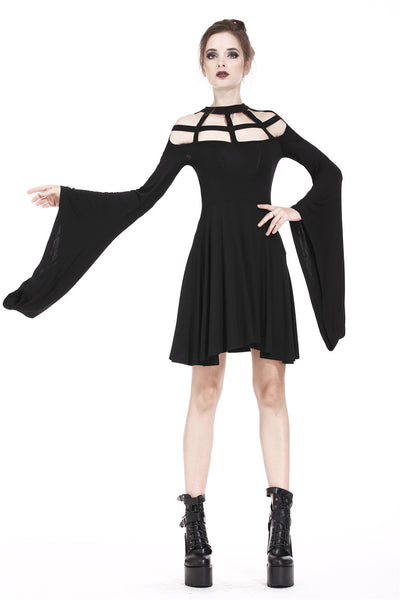 DW183 Punk knitted dress with mimic spider web shape design and big kimono sleeves