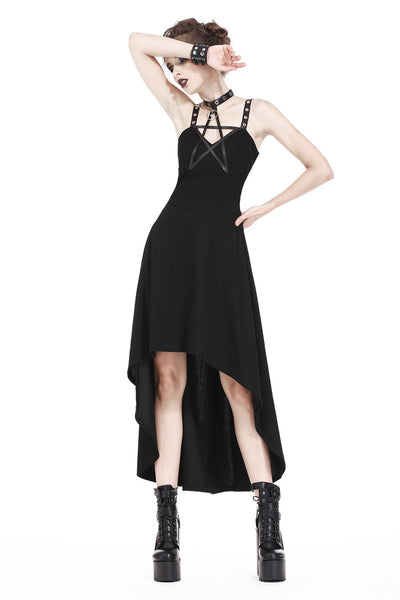 DW184 Punk knitted high-low dress with leather star across neck
