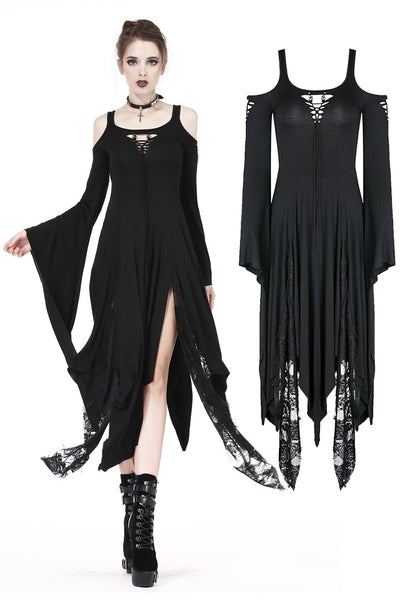 DW185 Gothic knitted long dress with irregular hem and hooked rope designs
