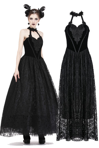 Gothic noble velvet lace long dress with hearted flower design DW187 - Gothlolibeauty