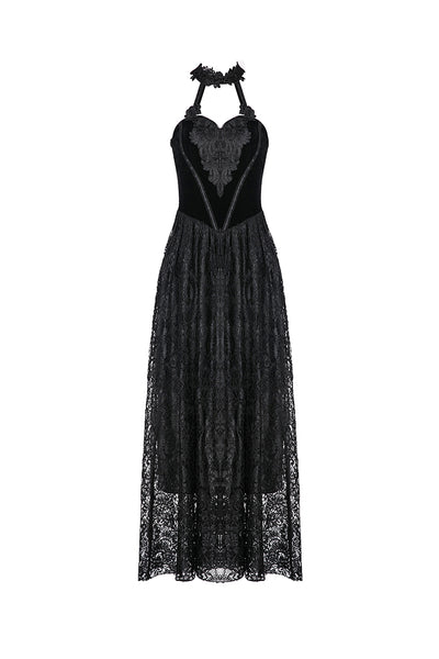 DW187 Gothic noble velvet lace long dress with hearted flower design
