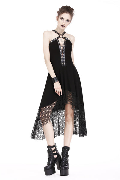 DW189 Punk knitted dress with net pattern hem and sexy eyelet rope design