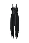 DW190 Punk knitted dress with irregular hem and interlaced rope design - Gothlolibeauty