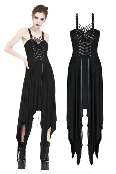 DW190 Punk knitted dress with irregular hem and interlaced rope design