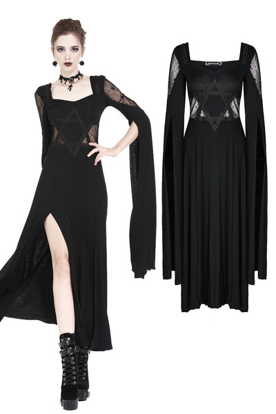 DW191 Gothic long knitted dress with star hollow out design and super long sleeves