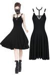 Punk daily dress with sexy cross across neck design DW195 - Gothlolibeauty