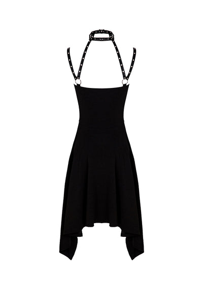 DW196 Punk dress with eyelet and rivet straps bounding neck designs
