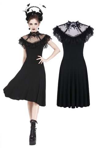 Gothic knitted dress with sexy rose flower net on top DW197 - Gothlolibeauty
