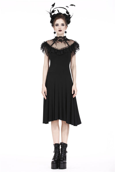 DW197 Gothic knitted dress with sexy rose flower net on top