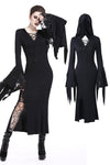 Holloween gothic slit hem witch sleeve hooded dress DW200 - Gothlolibeauty