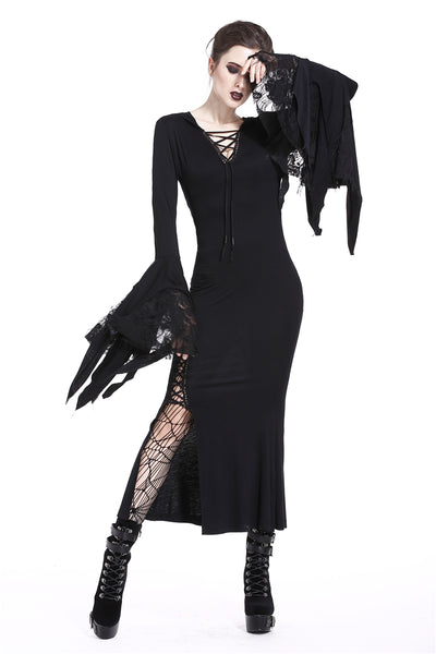 DW200 Holloween gothic slit hem witch sleeve hooded dress