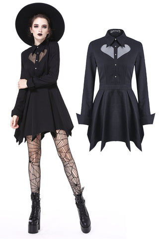 DW205 Gothic sexy mesh heart pleated collar bow dress - Gothlolibeauty