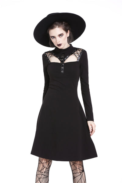 DW208 Punk cool hollow lace-up midi dress