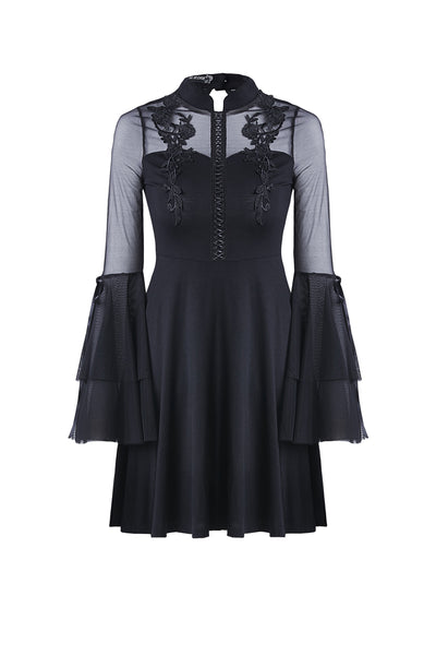 DW216 Cute gothic flower bust layered sleeve midi dress