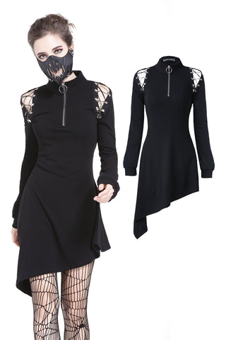 Punk zippered hollow shoulder dress DW218 - Gothlolibeauty