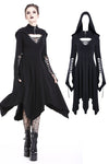 Gothic lace-up bust and sleeve hooded dress DW220 - Gothlolibeauty