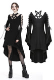 Punk pentagram crossed neckline dress with lace up sleeves DW225 - Gothlolibeauty