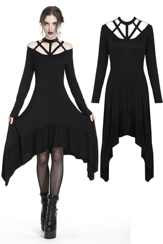 Punk strap neckline waterfall hem dress DW230 - Gothlolibeauty