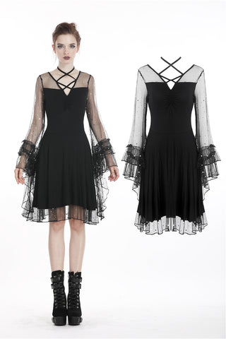 Black sexy dot mesh casual dress DW260 - Gothlolibeauty